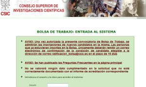 Official website : http://www.bolsatrabajo.csic.es